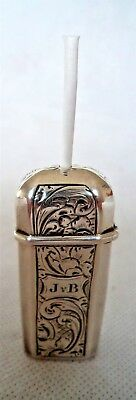 Early Victorian / Dutch 1848 Sterling / Solid Silver Vesta Case And Holder