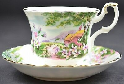 Royal Albert Country Scenes Collection Dingle Dell Footed Teacup & Saucer floral