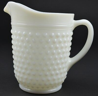 """Anchor Hocking Hobnail Milk Glass Pattern 65 Oz. Pitcher 8"""" Tall Collectible"""