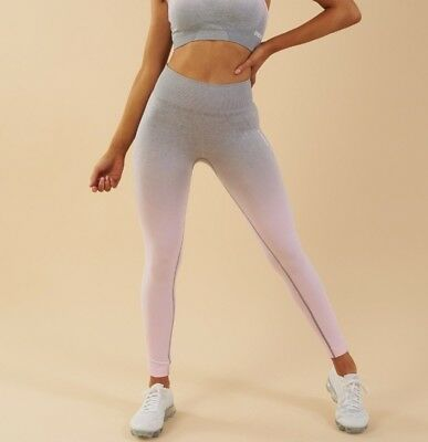 07970a3736 GYMSHARK OMBRE SEAMLESS Leggings Peach pink charcoal - £31.00 ...