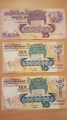 25, 10, 10, Rupees Banknotes World Money Currency SEYCHELLES Africa