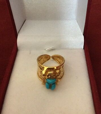 Rare Egyptian Stamped Solid Yellow18K Gold Turquoise SCARAB Ring Sizable Unisex