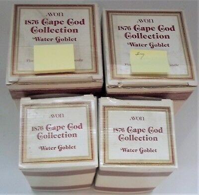 Lot of 4 Avon Cape Cod Collections Water Goblets in Boxes