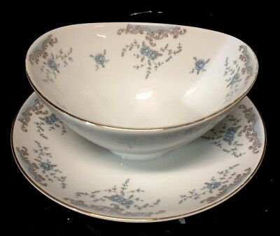 SEVILLE by Imperial China W. Dalton 5303  Gravy Boat Bowl Attached Plate