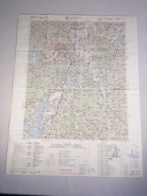 "Vintage Korea Map Jinju 29""X 22"" Total 1980 In Korean And English One Sided"