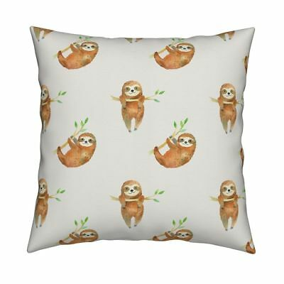 Baby Sloth Sloths Rainforest Throw Pillow Cover w Optional Insert by Roostery