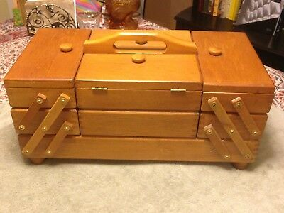 Vintage Accordian 3 Tier Fold Out Wood Sewing Box Handmade Europe Full Spools