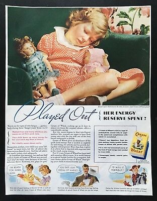 1936 Cream of Wheat little girl sleeping with doll photo vintage print ad