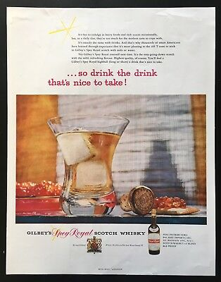 1954 Gilbey's Spey Royal Scotch Whisky highball caviar cracker vintage print ad