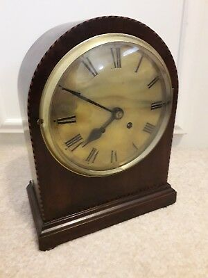 Antique Mahogany Mantle Clock Brass Face Dome Top (Not Working)