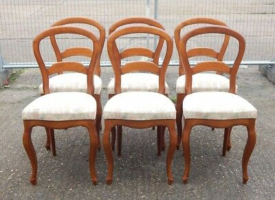 Set of 6 Grange Furniture Victorian balloon back style upholstered dining chairs