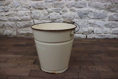 French Original Antique Cream and Brown Enamel Slop Bucket / Pail,Shabby Chic 4