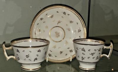 Fine Regency Ridgway Hand Gilded Cup & Saucer Trio with London Handle C 1790+