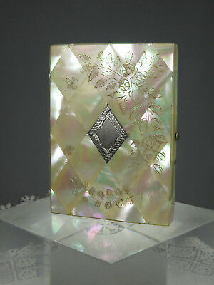Beautiul Antique Mother Of Pearl Calling Card Case ~ Engraving ~ Silver Inlay
