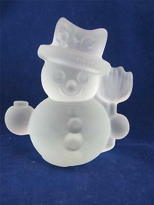 Vintage Goebel Christmas Crystal Glass Frosted Frosty Snowman Candle Holder