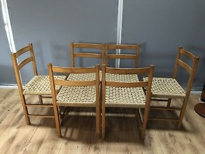 Six Beech Dining Chairs With Cord Seats probably Danish no marks