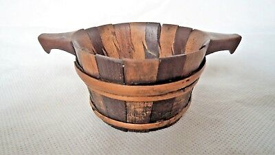 ORIGINAL 19TH CENTURY c1850 SCOTTISH TREEN LUGGIE / BICKER / QUAICH