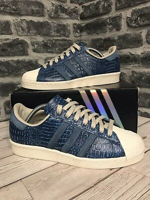 first rate 0a949 106e7 Adidas Originals Superstar 80s Trainers UK Size 8 Blue Leather D65537