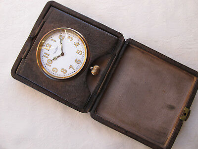 WW1 PERIOD c1914-20s OFFICERS DESK / TRAVEL CLOCK EXCELLENT WORKING CONDITION
