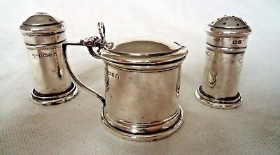 Antique 1935 Sterling / Solid Silver Condiment Set Mustard, Salt And Pepper Pots
