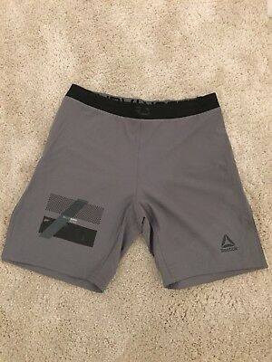REEBOK COMBAT TECH Woven Shorts Grey Size Medium Mma Boxing Crossfit ... 7ec2984b2