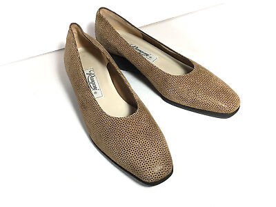 RANGONI of Florence (Amalfi) Slip On Wedge Ballet Shoes Taupe Tan Suede 7