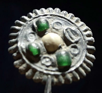 Byzantine Lead Broch Pedant With Green And White Beads
