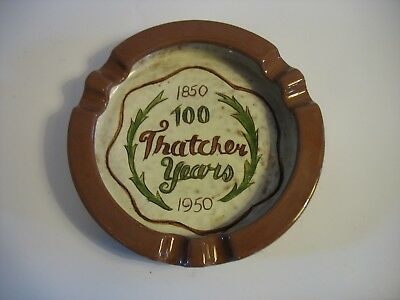 VINTAGE STANGL Pottery ASHTRAY 100 Thatcher Years 1850-1950