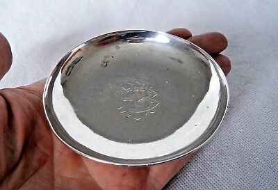 HEAVY CHINESE ANTIQUE c1900 STERLING / SOLID SILVER TRINKET / RING  / COIN DISH