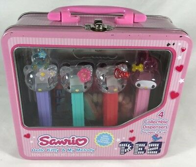 New Pink Sanrio Hello Kitty & My Melody Pez Dispensers & Candy In Tin Lunch Box
