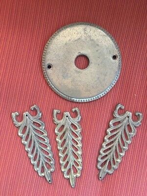 4 Pieces Of Vintage Solid Brass Marked Italy 3 Filigree & 1 Back Plate