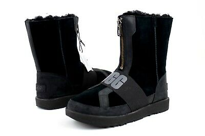 2bbc62cf58a UGG CONNESS LOGO Suede Leather Waterproof Wool Black Women's Boots Size 5.5  Us