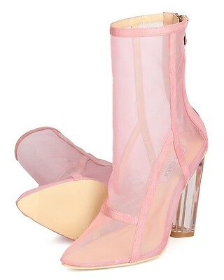 1ddd7f4c67e9d5 New Cape Robbin Brady-2 Mixed Media Lucite Block Heel Pink Ankle Boot Nasty  Gal