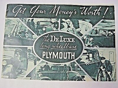 "1930's Plymouth ""Get You Money's Worth!"" Brochure"