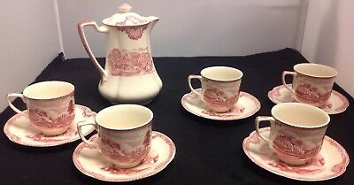 Johnson Bros. Old Britain Castles Pink(Crown Stamp) Mini Coffee Pot/Cups/Saucers
