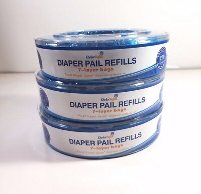 Diaper Pail Refills 7 Layer Bags Holds 270 Diapers , 3-Pack 810 Count Choice...