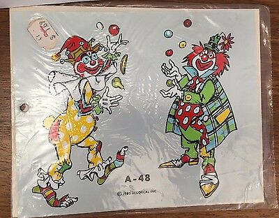 Clown Decals Vintage Hand Painted Effect Decorcal 1980 new in package A-48