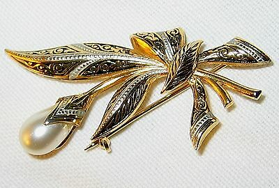 Vintage Damascene Floral Spray flower Pin Brooch Toledo Spain