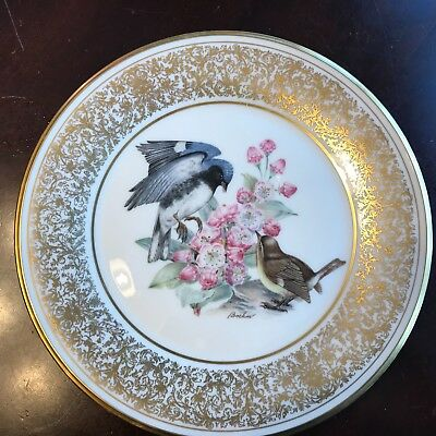 Lenox Edward Marshall Boehm Birds Black-Throated Warbler 1980 Plate 10 1/2 ""