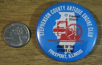 Stephenson Co Antique Engine Club Freeport Illinois Stover Line Pinback Button