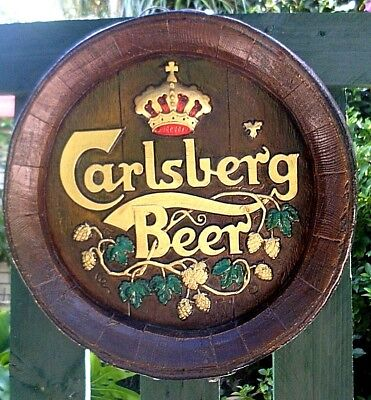 RARE Vintage Carlsberg Beer Barrel End Sign Bar Display MAN CAVE BAR Collectable