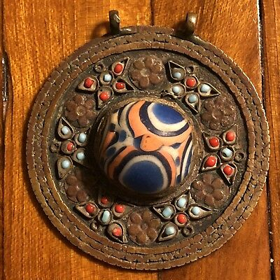 Medieval Era Style Middle Eastern Islamic Large Mosaic Glass Pendant Artifact