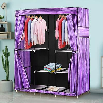 Double Triple Canvas Close Wardrobe Cupboard Folding Hanging Clothes Storage UK