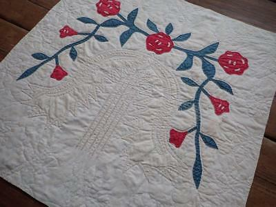 Antique Red Green Civil War Carolina Lily Table Doll Quilt 15x15