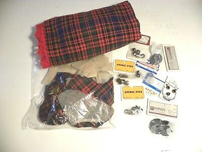 Teddy Bear Craft Supplies-Eyes, Joints, Red Plaid Wool