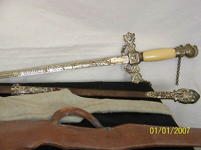 Knights of Templar Sword & Scabbard w/Faux Jewels Enamel- Cloth,Leather Covers