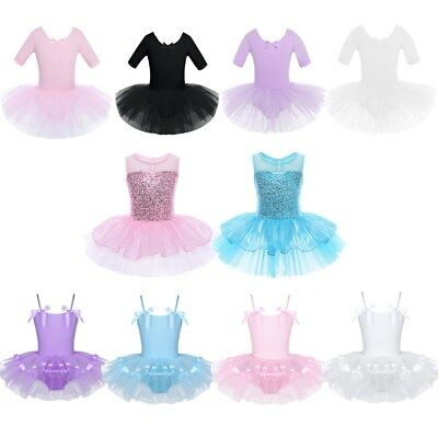 Girls Chiffon Ballet Dance Tutu Dress Gymnastic Leotard Ballerina Fairy Costume