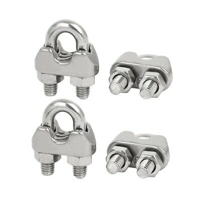 M6 1/4 Inch 304 Stainless Steel U-Shape Bolt Saddle Clamps Cable Wire Rope O8X7