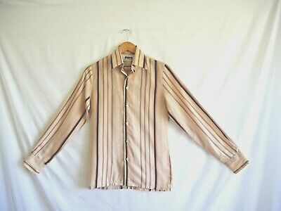 Mens Vintage Striped Brown Long Sleeve Daire Shirt Button Front Size S