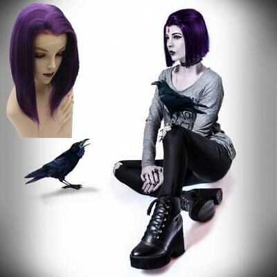 Lace Front Short Purple Synthetic Bob Teen Titans Cosplay Wig
